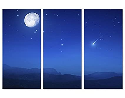 Stampa su tela Full Moon Wish Trittico I, quadri su tela,quadro su ...