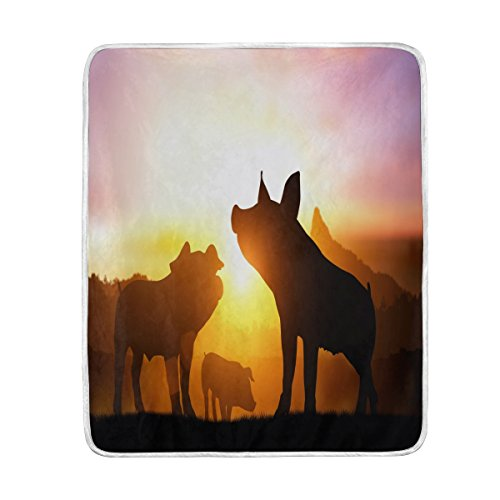 ALAZA Home Decor Sunset Silhouette of Pig Piggy Blanket Soft Warm Blankets for Bed Couch Sofa Lightweight Travelling Camping 60 x 50 Inch Throw Size for Kids Boys Women for $<!--$34.50-->