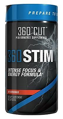 360Cut 360STIM, Maximum Strength Concentration/Focus and Energy Formula Capsules, 60 Servings