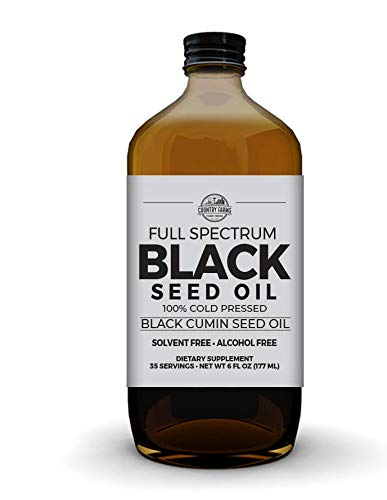 Country Farms Black Seed Oil Dietary Supplement, Black Cumin Seed Oil, Full Spectrum, Cold Pressed, 6 fl. oz, 35 Servings (Full Spectrum Black Cumin Seed)