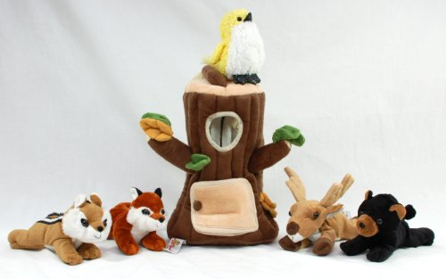 Special Edition Plush Treehouse with Animals - Tree Stump + Five (5) Stuffed Forest Animals (Fox, Elk, Bird, Black Bear, and Squirrel) by Unipak