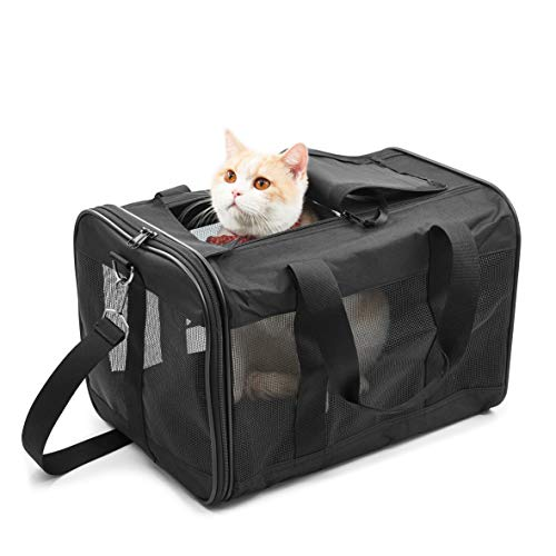 HITCH Pet Travel Carrier Soft Sided Portable Bag for Cats, Small Dogs, Kittens or Puppies, Collapsible, Durable, Airline Approved, Travel Friendly, Carry Your Pet with You Safely and Comfortably (M)
