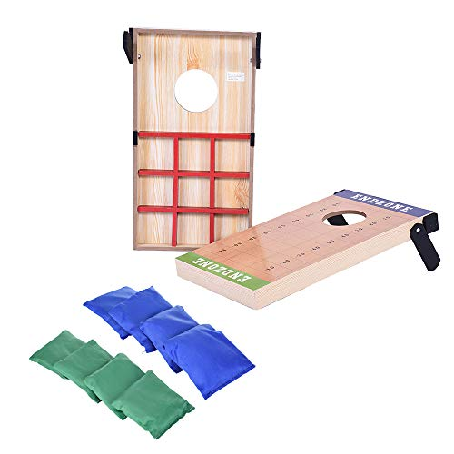 Ama-store 2-in-1 Cornhole Toss Game Set with 8 Bean Bags and Travel Carrying Case Toss Game and Tic Tac Toe Game Set with Two Game Platforms