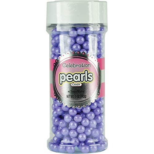 (Sweetworks Celebrations Candy Pearls Shaker Jar, 5 oz, Shimmer Lavender)