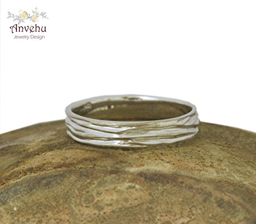 Solid White gold wedding ring 14k or 18k Men's wedding band Delicate band rustic wedding ring Handmade anvehu