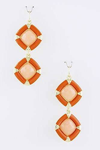 TRENDY FASHION JEWELRY RECTANGLE TWO TONE LINK EARRINGS BY FASHION DESTINATION | (Orange/Pink) (Diamonds Hot Two Tone Earrings)
