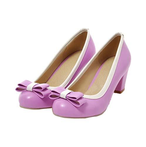 Légeres Tsfdh002936 À Aalardom Violet Femme Pu Cuir Chaussures Talon Mélangées Correct Couleurs zSUBxwq