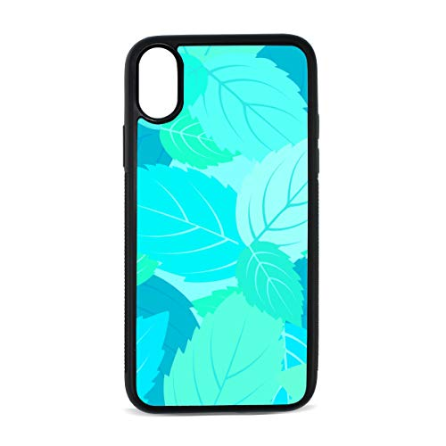 Case for iPhone Mint Leaves Green Summer Cool Digital Print TPU Pc Pearl Plate Cover Phone Hard Case Cell Phone Accessories Compatible with Protective Apple Iphonex/xsCase 5.8 Inch ()