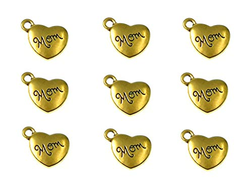 - 30pcs Mom Charm,Heart Shape Double-Faced Pendant for Mother's Day as DIY Bracelet Necklace Jewelry Making Findings(Golden)