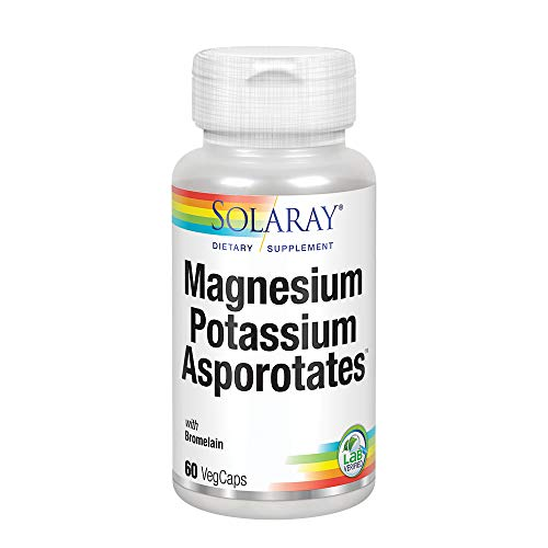 Solaray Magnesium and Potassium Asporotates w/ Bromelain | Healthy Electrolyte, Muscle, Heart & Cellular Support | 60 Servings | 60 VegCaps (Best Magnesium For Heart Health)