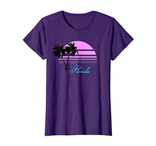 Womens Retro Vintage Florida Tourist Souvenir Black Palms T-Shirt Large Purple