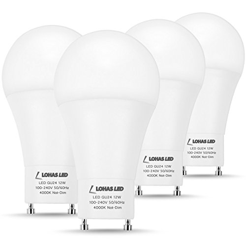 LOHAS LED GU24 Light Bulb, 75W-100W CFL Light Equivalent(12W), A19 Shape 4000K GU24 Base LED Bulbs Neutral White, Not Dimmable, 1200 Lumens, 240 Degree Beam Angle(4 Pack)