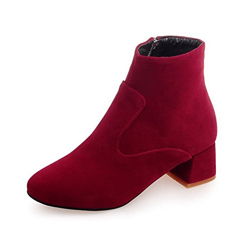BalaMasa Ladies Chunky Heels Zipper Round Toe Imitated Leather Boots Red E5q6H2T