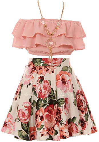 (Cold Shoulder Crop Top Ruffle Layered Top Flower Girl Skirt Sets for Big Girl Blush 14 JKS)