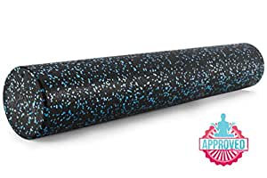 ProSource High Density Speckled Black Foam Rollers, 61 cm x 15.2 cm for Myofascial Release, Pilates, Trigger Point Massage and Muscle Therapy, Blue
