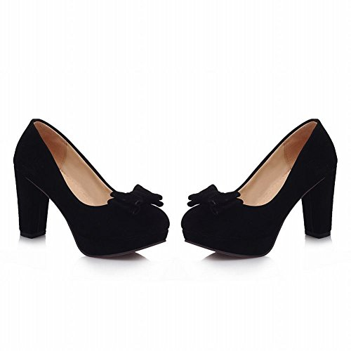 Show Shine Women's Fashion High-heel Nubuck Bows Upper Court Shoes Black d3NYOwy