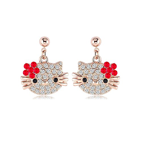Hello Kitty Earrings - Rose Gold with Crystals - Mall of Style (Red) (Hello Kitty Earring Set)