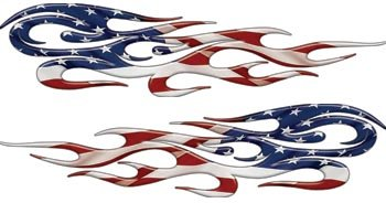 Amazoncom Full Color Tribal Reflective American Flag Flame - Flame stikers for car