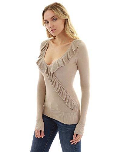 v del collo Maglione dell'involucro del Marrone dell'increspatura maglione PattyBoutik del faux Donne Chiaro wOqXTvn8