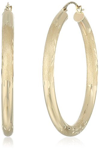 10k Yellow Gold Polished and Engraved Round Hoop Earrings (10k Engraved Earrings)