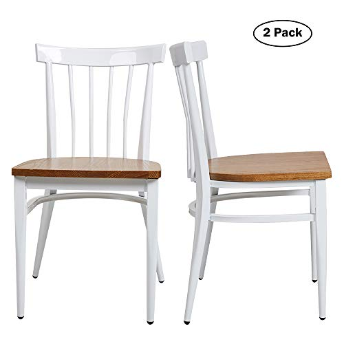 (Modern White Armless Dining Chairs Set of 2 -Heavy Duty Wood Seat and Iron Frame Kitchen Side Chairs for Restaurant Cafe Bistro,Ergonomic Design,Comb Back)
