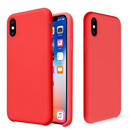 iPhone X Case, Fuleadture Liquid Silicone Gel Rubber Shockproof Mobile Phone Case Slim Soft Protective Cover with Microfiber Cloth Lining Cushion for Apple iPhone X - Red Silicon Rubber Cover