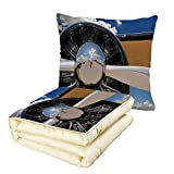 iPrint Quilt Dual-Use Pillow Airplane Decor Propeller and Engine of Airplane Clouds Flight Historic Metal Oldwar Bird Transport Decorative Multifunctional Air-Conditioning Quilt