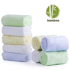 Baby Washcloths, 100% Organic Bamboo Baby Bath Washcloth Face Towels, Soft Absorbent Newborn Towel Set for Boys & Girls, (9 Pack)