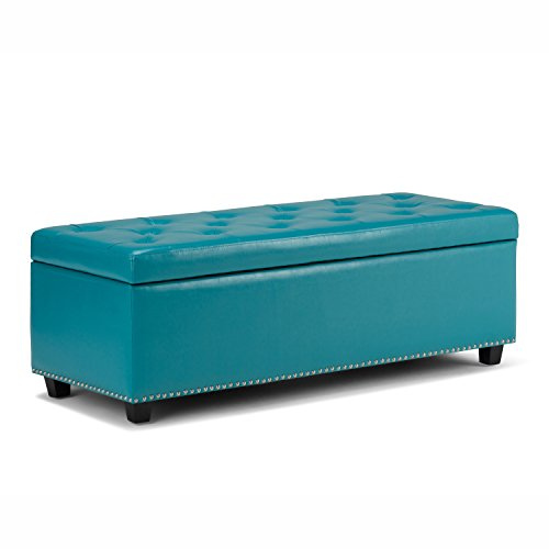 (Simpli Home 3AXCOT-239-MBU Hamilton 48 inch Traditional Storage Ottoman in Mediterranean Blue Bonded Leather)