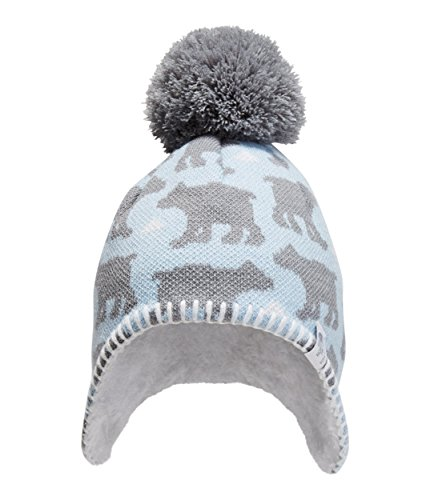 The North Face Kids Unisex Faroe Beanie (Infant) Pale Blue/Mid Grey Bear Print XS