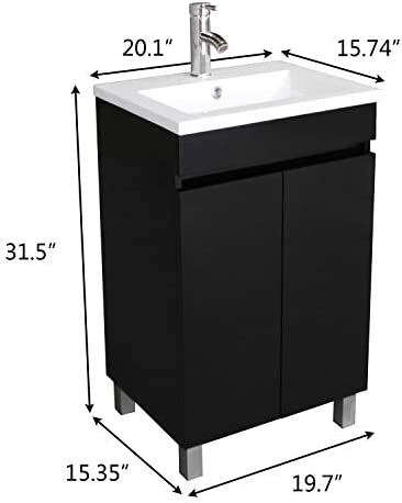 Amazon Com Sliverylake 20 Inch Free Standing Bathroom Vanity Cabinet With 2 Doors Undermount Resin Sink And Chrome Faucet Combo Black Kitchen Dining