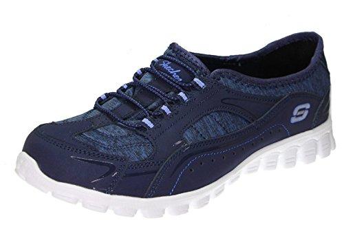Skechers Ex Flex 2 Women's Fashion Slip on Sneakers With Bungee Laces, Navy/Purple 9 Wide US