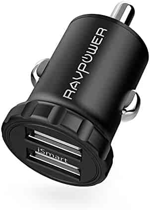 Car Charger RAVPower 24W 4.8A Mini Dual USB Car Adapter with iSmart 2.0 Charging Tech for Galaxy S8 / S7 / Edge / Plus, Note 5 / 4, LG, Nexus, HTC and IOS Devices- Black [Upgrade Version]