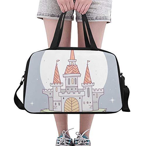 Tote Bags Magic Castle Fantasy Building Custom Travel Duffel Bags Waterproof Duffel Garment Bag For Student Sportman Sport Training Cycling Dufflebag With Shoe Pounch ()