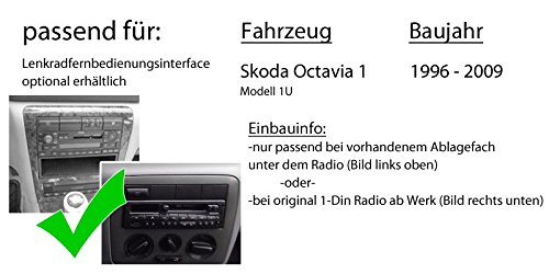 JVC KD-DB67 DAB+ Digitalradio Antenne DAB+ USB Autoradio inkl Einbauset f/ür Skoda Octavia 1 1U JUST SOUND best choice for caraudio