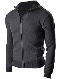 Men's sophisticated Zip Up Slim Fit Long Sleeve Turtleneck Cardigan Sweater