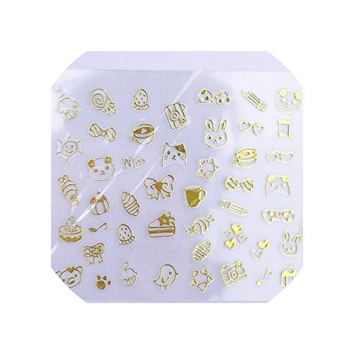 (Holographic Gold Chrimas Tree Laser Adhesive Decal sticker Nail Art Decoration 1 Sheet,Yzw6062)