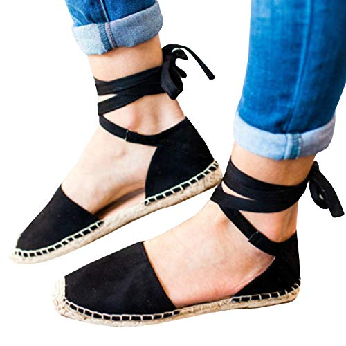 Lace Wrap Lace Up (Huiyuzhi Womens Ankle Wrap Espadrille Flat Sandals Summer Lace Up Platform Sandals (8 B(M) US, Black))