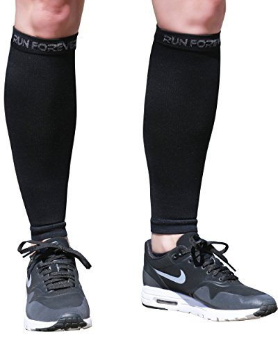 Calf Compression Sleeves - Leg Compression Socks for Runners, Shin Splint, Varicose Vein & Calf Pain Relief - Calf Guard Great for Running, Cycling, Maternity, Travel, Nurses (Black, XL)