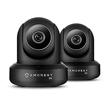 Image of 2-Pack Amcrest UltraHD 2K (3MP/2304TVL) WiFi Video Security IP Camera with Pan/Tilt, Dual Band 5ghz/2.4ghz, Two-Way Audio, 3-Megapixel @ 20FPS, Wide 90° Viewing Angle & Night Vision IP3M-941B (Black) Dome Cameras