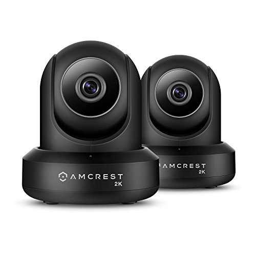 2-Pack Amcrest UltraHD 2K 3MP 2304TVL WiFi Video Security IP Camera with Pan Tilt, Dual Band 5ghz 2.4ghz, Two-Way Audio, 3-Megapixel 20FPS, Wide 90 Viewing Angle Night Vision IP3M-941B Black