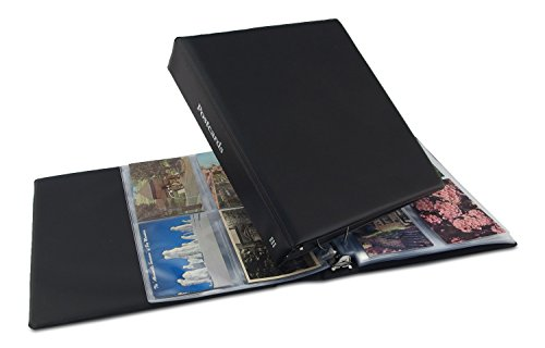 Postcard Organizer - Hobbymaster Postcard Album, Trim Classic Style (Black) holds your post card collection, expandable