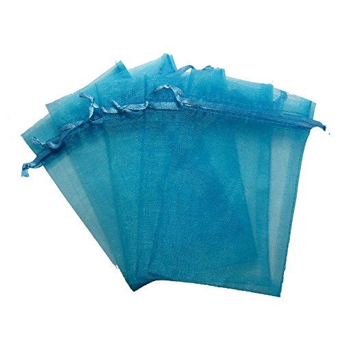 - RakrisaSupplies 100Pcs Lake Blue Organza Bags 6x9