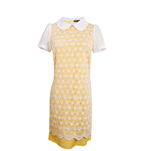 jntworld Women's Floral Monogram 2 Layer lace Elegant Round Lapel Yellow Dress for Cocktail Party, L, Yellow -