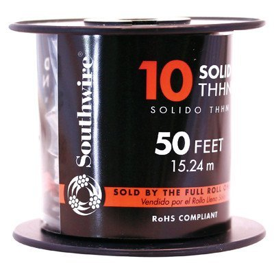 SOUTHWIRE 11599817 Simpull THHN, 10 Gauge THHN Solid Wire, Green, 50' Per Roll, 4.5'' x 4'' x 4.5''