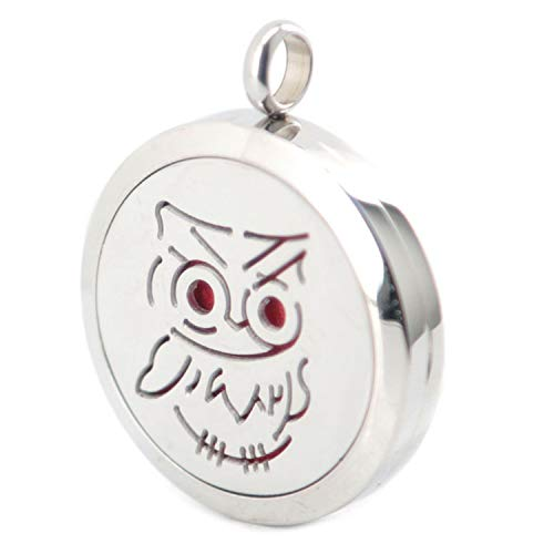 (More Than 25 Styles of Aromatherapy Essential Oil Surgical Stainless Steel Necklace Perfume Diffuser Medallion Pendant,Cute Owl)