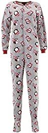 Pillow Talk Women's Cozy Patterened Fleece Footed Pajama