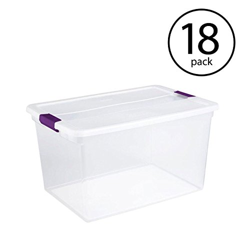 STERILITE 17571706 66 Quart Clearview Latch Box Storage Tote Container, 18 Pack ()
