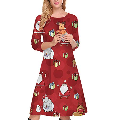 HYIRI ✈ clearence!!!Santa Claus Print Dress,Women Xmas Ladies Christmas Three Quarter Party Dresses