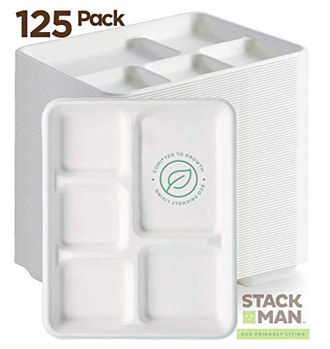 Stack Man 100% Compostable Paper Plate 125-Pack 5-Compartment Bagasse School Lunch Heavy Duty Quality Disposable Tray, Eco-Friendly Made of Sugar Cane Fibers (Renewed)